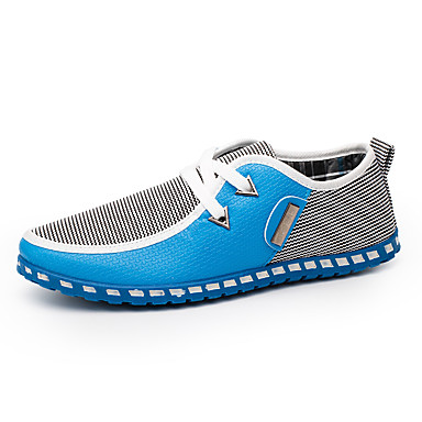 cheap Men's Slip-ons & Loafers-Men's Comfort Shoes Light Soles Spring / Fall Casual / British Daily Outdoor Loafers & Slip-Ons Walking Shoes PU Breathable Wear Proof Green / Blue / White Color Block / EU40