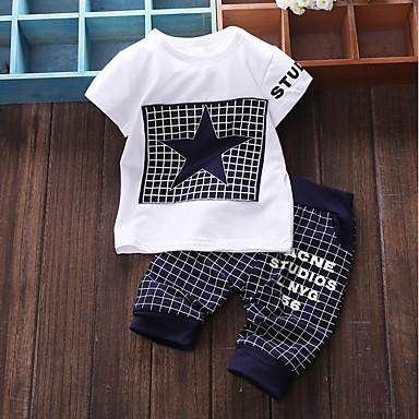 preiswerte Babykleidung Jungen-Baby Jungen Grundlegend Alltag Patchwork Patchwork Kurzarm Standard Baumwolle Kleidungs Set Marineblau
