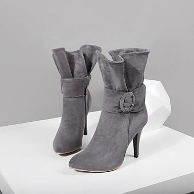 Dame Støvler Suede Sko Stiletthæl Spisstå Spenne Mikrofiber Støvletter Trendy støvler Høst vinter Svart / Grå / Rød / Fest / aften