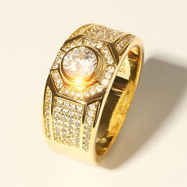 voordelige Herensieraden-Heren Ring 1pc Goud Messinki Gesimuleerde diamant 24K Gold Plated Cirkelvorm Luxe Klassiek Modieus Bruiloft Avond Feest Sieraden Klassiek Stijlvol patiencespel Kostbaar Cool