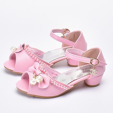 Girls Shoes Faux Leather Summer Flower Girl Shoes Heels Pearl For