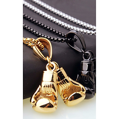 cheap Jewelry & Watches-Men's Chain Necklace Charm Necklace Stylish Foxtail chain Boxing Gloves European Casual / Sporty Fashion Steel Stainless Gold Black Silver 45 cm Necklace Jewelry 1pc For Gift Street