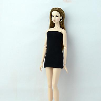 voordelige Poppenaccessoires-Poppenjurk Jurken Voor Barbie Modieus Zwart Stretchsatijn Kant Katoenen Doek Kleding Voor voor meisjes Speelgoedpop