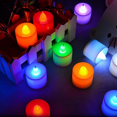 cheap Wedding Reception-24Pcs  LED Candle Multicolor Lamp Simulation Color Flame Tea Light Home Wedding Birthday Party Decoration