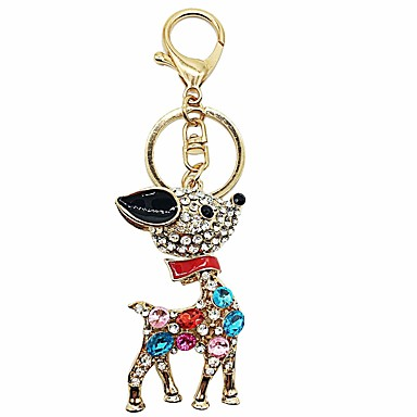 cheap Keychains-Keychain Deer Diamond / Rhinestone Decorated Case Sweet Ring Jewelry Red / Blue / Pink For Gift Daily