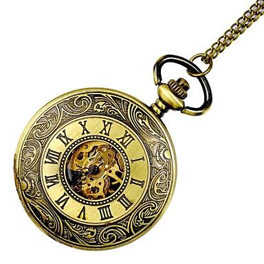 billige Halskjede klokke-Dame Lommeklokke gullklokke Automatisk selvopptrekk damer Hul Inngravering Gylden Analog - Gull