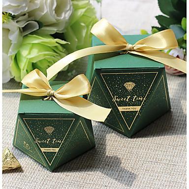 olcso Esküvői köszönetajándékok-Szabálytalan Kártyapapír Favor Holder val vel Szalagok Ajándék dobozok - 12db