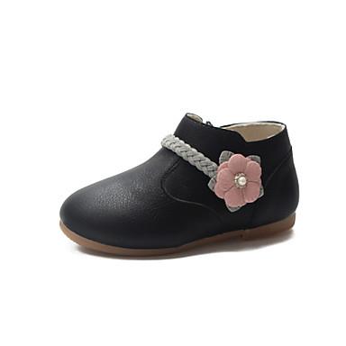 Lány Kényelmes / Virágoslány cipők PU Csizmák Kis gyerekek (4-7 év) / Nagy gyerekek (7 év +) Fekete / Rózsaszín / Bézs Tavasz / Ősz