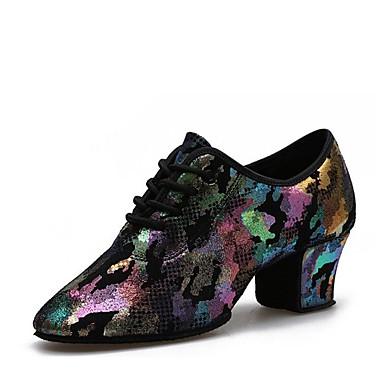 preiswerte Meist Verkaufte-Damen Tanzschuhe Leder Schuhe für modern Dance Absätze Starke Ferse Maßfertigung Purpur / Gelb / Leistung
