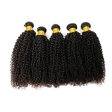 povoljno Ekstenzije od ljudske kose-6 paketića Indijska kosa Kinky Curly Ljudska kosa Netretirana  ljudske kose Ljudske kose plete Produžetak Bundle kose 8-28 inch Prirodna boja Isprepliće ljudske kose Smooth Moda Gust Proširenja / 8A