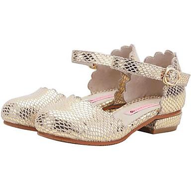 preiswerte Schuhe für Kinder-Mädchen Schuhe für das Blumenmädchen Leder High Heels Kleinkind (9m-4ys) / Kleine Kinder (4-7 Jahre) / Große Kinder (ab 7 Jahren) Gold / Silber Frühling & Herbst
