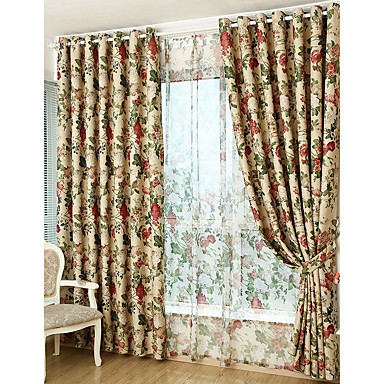[$88.87] Country Blackout Curtains Drapes Two Panels Curtain / Dining Room