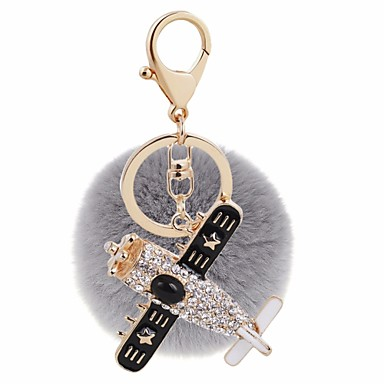 cheap Keychains-Keychain Airplane Ball Sweet Fashion Ring Jewelry Gray / Yellow / Pink For Gift Daily