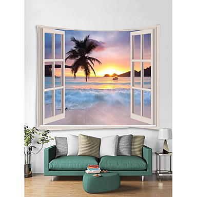 cheap Wall Tapestries-Window Landscape Wall Tapestry Art Decor Blanket Curtain Picnic Tablecloth Hanging Home Bedroom Living Room Dorm Decoration Polyester Sea Ocean Beach Sunset Sunrise Palm