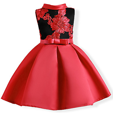 cheap Baby & Kids-Kids Girls' Sweet Party Floral Bow Embroidered Sleeveless Dress Red