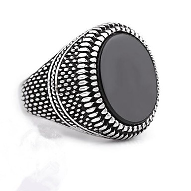 voordelige Herensieraden-Heren Ring Zegelring Obsidiaan 1pc Zilver Titanium Staal Cirkelvormig Stijlvol Klassiek Bruiloft Dagelijks Sieraden Vintagestijl