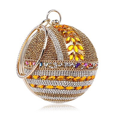 cheap L.WEST®-Women's Crystals Polyester / Alloy Evening Bag Rhinestone Crystal Evening Bags Gold / Silver / Red / Fall & Winter