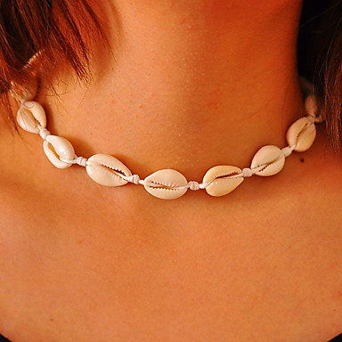 cheap Designer Jewelry-Girls' Choker Necklace Handmade Beach Theme Personalized Simple Bohemian Fashion Cowry Shell Cowrie Shell White Black Line Brown Line Necklace with Bracelet White Line Necklace with Bracelet Black