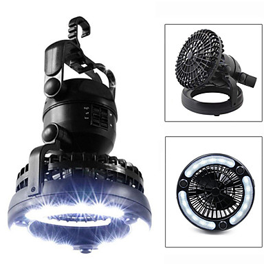 cheap Flashlights & Camping Lanterns-Lanterns & Tent Lights Waterproof 18 lm LED LED 18 Emitters Manual Mode Waterproof Portable Fan Night Vision 2 in 1 Camping / Hiking / Caving Hunting Cold White Light Source Color Black