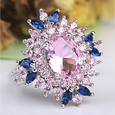 cheap Simulated Diamond Rings-Women's Statement Ring Ring Amethyst 1pc Pink Copper Platinum Plated Imitation Diamond Ladies Unusual Unique Design Wedding Party Jewelry Layered Stylish Solitaire Flower Cute