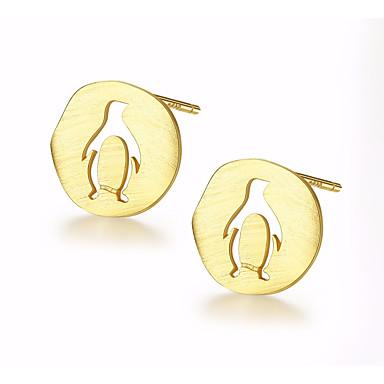 levne Dámské šperky-Dámské Peckové náušnice Stylové Tučňák dámy Casual / Sportovní Módní Cute Style Stříbro Pozlacené Náušnice Šperky Zlatá / Stříbrná Pro Denní Rande 1 Pair