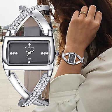 billige Kvadratiske og rektangulære ure-Dame Armbåndsur Diamond Watch Square Watch Quartz Damer Kronograf Læder Sort / Hvid Analog - Hvid Sort Et år Batteri Levetid / SSUO 377