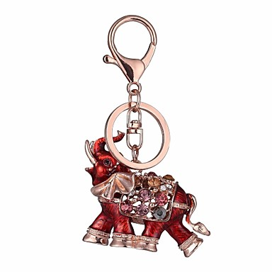 cheap Keychains-Keychain Elephant Diamond / Rhinestone Decorated Case Fashion Imitation Diamond Ring Jewelry Red / Blue For Gift Daily