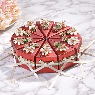 preiswerte Gastgeschenke-Dreieck Kartonpapier Geschenke Halter mit Bänder Geschenkboxen - 10 Stück