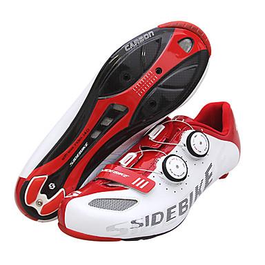 SIDEBIKE Skor för vägcykel Kolfiber Vattentät Andningsfunktion Anti-halk Cykelsport Röd / Vit Herr Cykelskor / Stötdämpande / Ventilerande / Ultra Lätt (UL) / Stötdämpande / Ventilerande