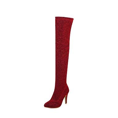 66c9e179 Mujer Tela Elástica Otoño invierno Botas de Moda Botas Tacón Stiletto Sobre  la Rodilla Plateado / Rojo / Azul 6858847 2019 – $44.99