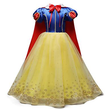 preiswerte Halloween Angebote-Kinder Mädchen Süß nette Art Festtage Ausgehen Einfarbig Cartoon Design Halloween Schleife Gitter Kurzarm Midi Kleid Gelb / Baumwolle