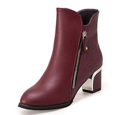 povoljno Clearance-Žene Čizme Fashion Boots Kockasta potpetica Okrugli Toe PU Čizme do pola lista minimalizam Jesen Crn / Lila-roza / EU40