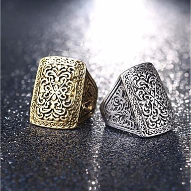 billige Motering-Par Ring 1pc Gull Sølv Legering Rund Geometrisk Form Stilfull Vintage Europeisk Gate Klubb Smykker Vintage Stil Skulptur Matchende Flower Shape