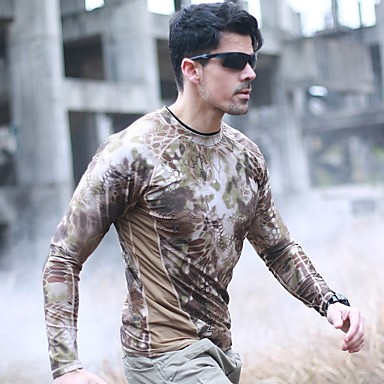 4c9bc606 Men's Long Sleeve Camo Hiking Shirt / Button Down Shirts Outdoor Autumn /  Fall Summer UV Resistant Quick Dry Breathability Wearable Polyester Mesh  Top Green ...