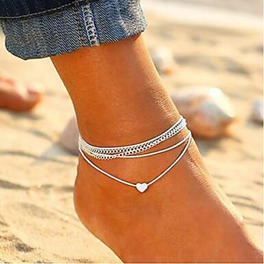 levne Dámské šperky-Dámské kotník náramek Provaz Stohovatelné Srdce dámy Dovolená Evropský Módní Nákotník Šperky Stříbrná Pro Denní