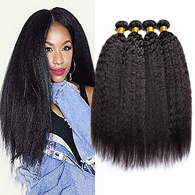 cheap Human Hair Weaves-4 Bundles Hair Weaves Brazilian Hair Yaki Human Hair Extensions Human Hair 400 g Natural Color Hair Weaves / Hair Bulk Extension Bundle Hair 8-28 inch Natural Natural Color 100% Virgin / 8A