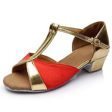 preiswerte Schuhe und Taschen-Damen Tanzschuhe Satin / Lackleder Schuhe für den lateinamerikanischen Tanz Farbaufsatz Sandalen / Absätze Starke Ferse Maßfertigung Rot / Leistung / Praxis