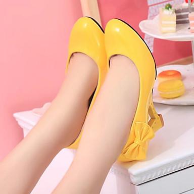 ราคาถูก ส้นรองเท้า-สำหรับผู้หญิง รองเท้าส้นสูง รองเท้าส้นสูง รองเท้าส้นตึก ปลายกลม ปมผ้า PU หวาน ฤดูใบไม้ผลิ & ฤดูใบไม้ร่วง สีดำ / สีเหลือง / สีบานเย็น / ทุกวัน