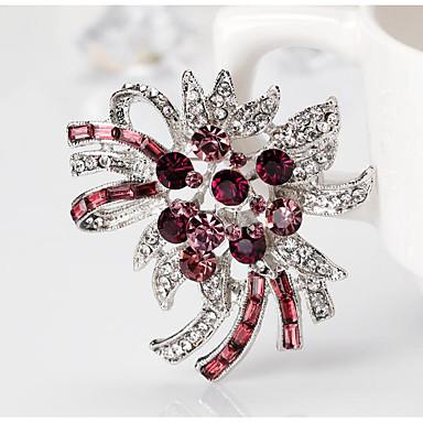 povoljno Značke i broševi-Žene Kubični Zirconia Broševi Sa stilom Cvijet Stilski Romantični Broš Jewelry Crvena Fuksija Za Vjenčanje Party