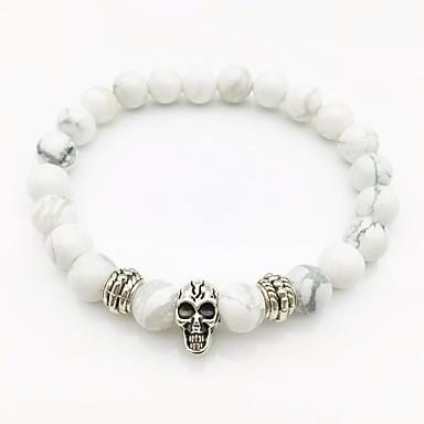 levne Pánské šperky-Pánské Bílé tyrkysové Korálkový náramek Stylové Boncuklar Lebka stylové Evropský Moderní Kabel Náramek šperky Bílá Pro Street Jdeme ven