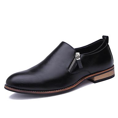 สำหรับผู้ชาย สไตล์อินเดียนแดง Synthetics ฤดูใบไม้ผลิ / ตก ธุรกิจ / ไม่เป็นทางการ รองเท้าส้นเตี้ยทำมาจากหนังและรองเท้าสวมแบบไม่มีเชือก ไม่ลื่นไถล สีดำ / สีน้ำตาล / สำนักงานและอาชีพ / รองเท้าขับขี่