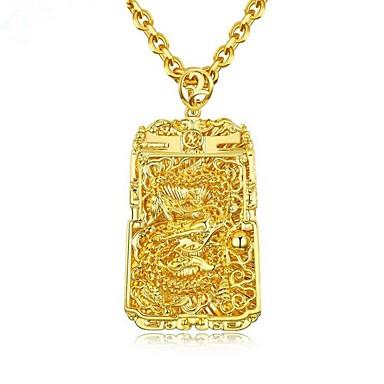 povoljno Modne ogrlice-Muškarci Ogrlice s privjeskom Sa stilom Graviranog Moda 18K pozlaćeni Kamen Zlato 61 cm Ogrlice Jewelry 1pc Za Dar Dnevno