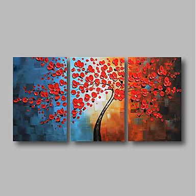 povoljno Ulja na platnu-Hang oslikana uljanim bojama Ručno oslikana - Sažetak Cvjetni / Botanički Comtemporary Uključi Unutarnji okvir / Tri plohe / Prošireni platno