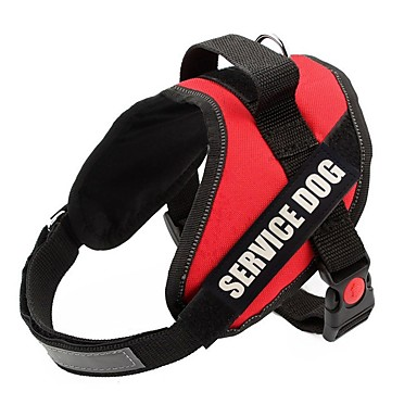 cheap Pet Supplies-Dog Harness Reflective Strips Shockproof Vest Walking Color Block Nylon Medium Dog Large Dog Service Dog Black Red 1pc