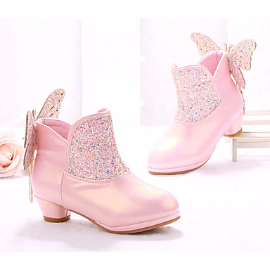 Girls Shoes Faux Leather Spring Fall Fashion Boots Flower Girl