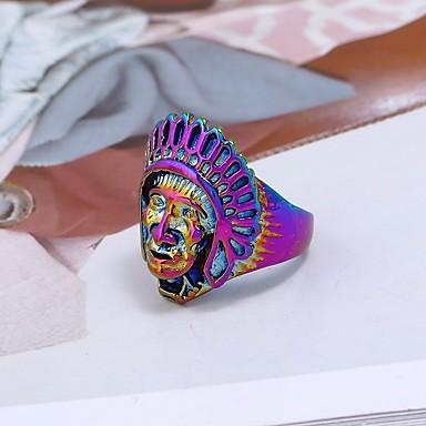 billige Motering-Par Statement Ring Ring 1pc Gull Sølv Regnbue Legering Rund Annerledes damer Stilfull Vintage Karneval Festival Smykker Vintage Stil Skulptur hode Kul