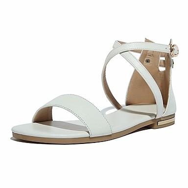 ราคาถูก Thick Soled Sandals-เด็กผู้หญิง ความสะดวกสบาย / รองเท้าสาวดอกไม้ หนัง รองเท้าแตะ เด็กน้อย (4-7ys) / Big Kids (7 ปี +) ขาว / สีดำ / สีเทาเข้ม ฤดูใบไม้ผลิ & ฤดูใบไม้ร่วง
