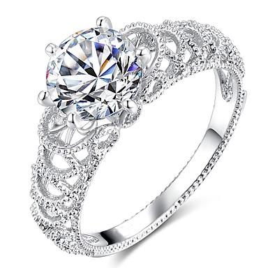voordelige Dames Sieraden-Dames Ring Micro Pave Ring 1pc Zilver Koper Platina Verguld Gesimuleerde diamant Zes punten Dames Stijlvol modieus Bruiloft Feest Sieraden patiencespel Rond nagebootst wolken Schattig