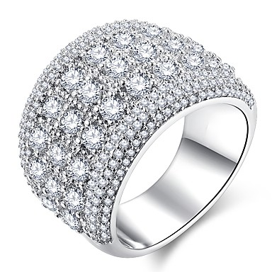 cheap Simulated Diamond Rings-Women's Ring Micro Pave Ring 1pc Silver Copper Platinum Plated Imitation Diamond Ladies Classic Hyperbole Wedding Party Jewelry Stylish Stardust Halo Star Gypsophila Cute