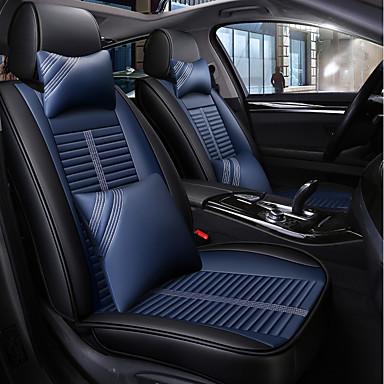 levne Doplňky do interiéru-potah sedadel černá a modrá čtyř ročních období se 2 polštáři na hlavu a 2 pasovými opěrkami pro 5 sedaček / pu kůže / kompatibilita s airbagy / nastavitelné a odnímatelné / rodinné auto / suv